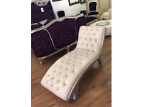 Rococo Solid Wood Chaise in Cream PU Crystal With Silver finish (Ex Display)