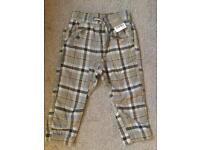 Brand New Next Check Trousers - 1.5-2 years