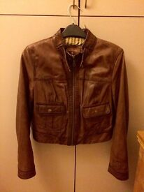 Light Brown Leather Jacket - Size 14