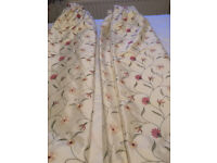 Beautiful fully lined embroidered curtains