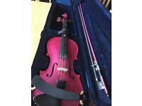 Pink Stentor 3/4 size violin. Around 2 years old. Shoulder rest, case, bow and rosin inc.