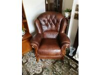Brown vintage leather sofa with 2 x chairs