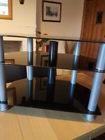 Black TV stand 3 shelves. Excellent condition