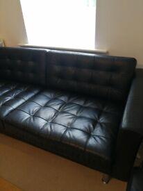 Ikea Landskrona 3 seater black leather sofa