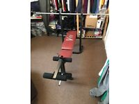 V-Fit Weights Bench with Long Bar and Leg Extension
