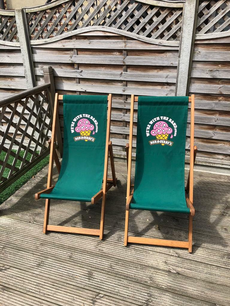 2x Ben And Jerry S Ice Cream Deck Chairs Bandstand Garden Beach