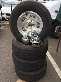 Four alloy wheels & tyres Ford