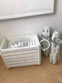 Ikea shelving , white, plastic