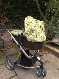 Cosatto pushchair & pram bed (green trees), good condition.