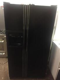 American PROFILE black fridge freezer
