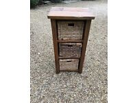 Wooden Shelf Storage Unit with Wicker Baskets £20