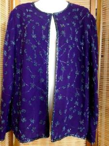 L XL EMBROIDERED SILK CARDIGAN BEADED Made in India for J Kara 42 44 ROYAL PURPLE