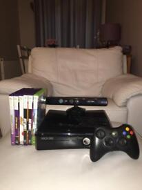 XBOX 360 S CONSOLE 250gb + Kinect + controller + 6 games (inc minecraft + just dance x2)