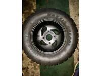 2 rear Quad Alloy wheels & Tyres