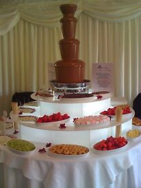 Three tier chocolate fountain, illuminated tiered light stand with carry cases