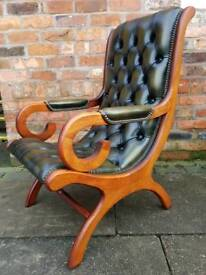 Chesterfield genuine leather slipper chair EXCELLENT CONDITION! BARGAIN!