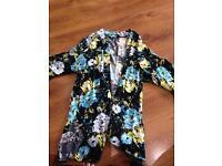Womans black floral kimono top size 12