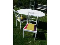 Shabby chic space saving extendable dining table and 2 chairs