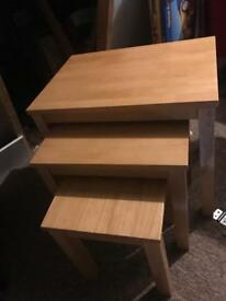 Light wood nest of tables coffee set of 3