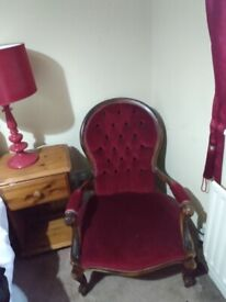 Two Victorian nursing mothers chairs both in redone with arms in good condition