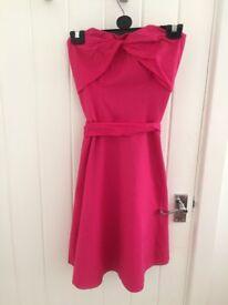 Bright pink boob-tube dress