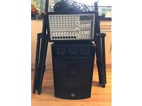 750 watt PA system plus 2 speakers, cables and stands