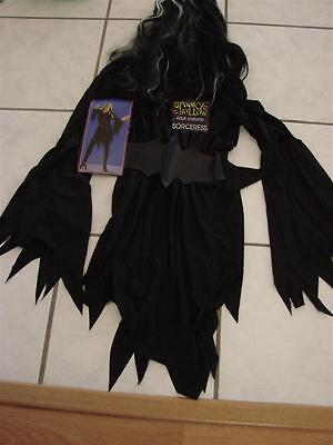 All Black Halloween Costumes For Women (Women's Sorceress Costume 3 piece One size fits all  dress wig belt)