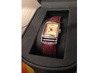 Designer Emporio Armani discrete ladies watch, brown leather strap new battery