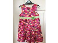 GIRLS PINK BUTTERFLY DRESS AGE 4