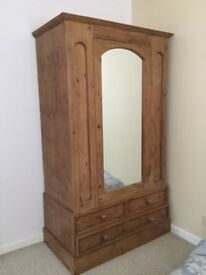 Very lovely large antique pine mirror door wardrobe with three base drawers