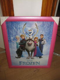 DISNEY FROZEN PINK FRAMED PICTURE - ideal for a princess bedroom! Brand new