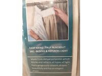 Pair of new blackout lining curtains 117cmW, 132cmD