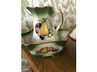 Staffordshire iron stone jug bowl and basket