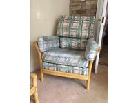 2 seater sofa, two armchairs and footstall