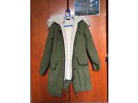 Topshop Khaki Faux Fur Lined Parka (UK 6)