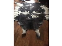 Large genuine cow hide rug - leather, shabby chic, rustic