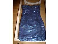 Blue Bugle Bead Dress Size 8
