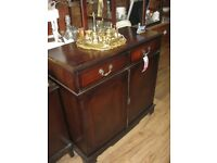 ORNATE SIDEBOARD CABINET. TOP TWIN DRAWERS
