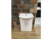 Gloss White Vanity Unit and Basin Tap 55cm