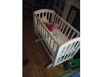 John Lewis baby newborn swinging cardle crib cot with mattress