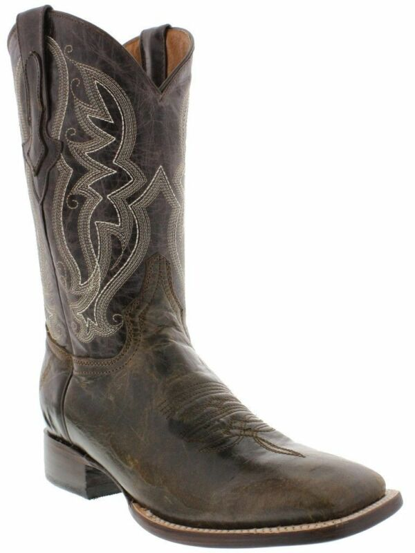 Mens, Brown, Distressed, Leather, Western, Wear, Cowboy, Boots, Rodeo, Square, Toe