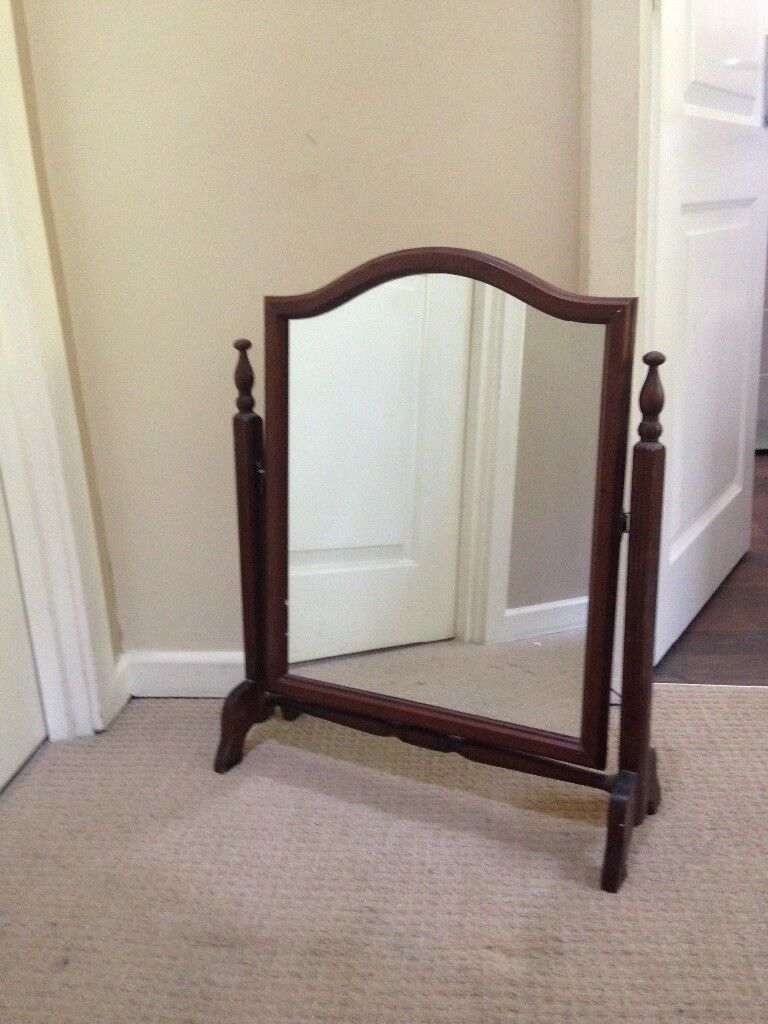 Table Top Mirror With Wooden Frame