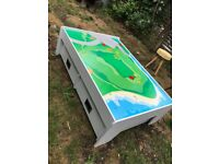 Large Play table with two draws on casters and an interchangeable table top
