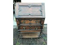 Vintage Antique Wooden Bureau Writing Desk Cabinet