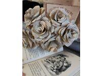 Handmade paper flower roses Posie bouquet weddings/ valentine's Day gift