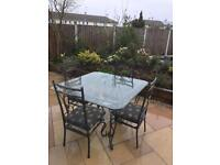 Patio Glass Dining Table and Chairs