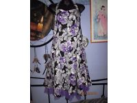 BLACK & PURPLE PATTERN HALTER NECK DRESS SIZE 16 NEW WITHOUT TAGS CHRISTMAS OR NEW YEAR PARTY