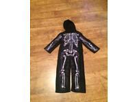 Halloween, fancy dress, Skeleton fleece onesie 3-4 years
