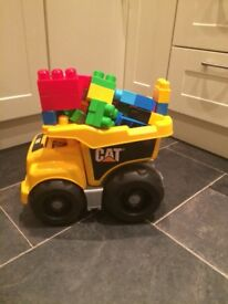 Mega bloks cat dump truck and blocks