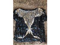 Sequin Embellished 100% Silk Top Black